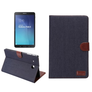 Jeans Cloth Leather Wallet Stand Shell for Samsung Galaxy Tab E 9.6 T560 - Black Blue