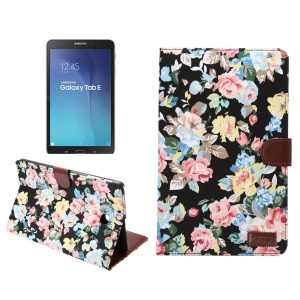 Flowers Leather Wallet Case for Samsung Galaxy Tab E 9.6 T560 with Stand - Black