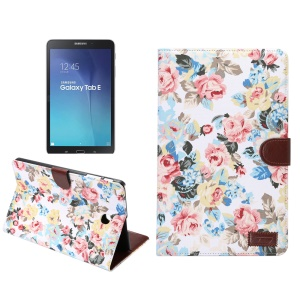 Flowers Leather Wallet Cover for Samsung Galaxy Tab E 9.6 T560 with Stand - White