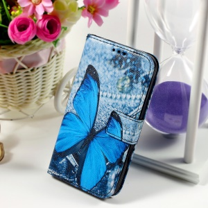 Callfree Leather Phone Cover for Samsung Galaxy Core Prime SM-G360 - Blue Butterfly