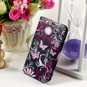 Callfree Leather Phone Cover for Samsung Galaxy Core Prime SM-G360 - Butterflies and Flowers