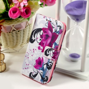 Callfree Leather Card Holder Case for Samsung Galaxy Core Prime SM-G360 - Purple Flower