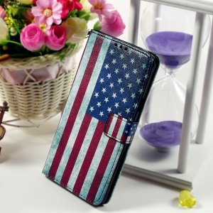 Callfree Wallet Stand Leather Phone Cover for Samsung Galaxy Note 5 - Vintage US Flag