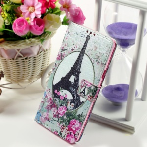 Callfree Protective Wallet Leather Case for Samsung Galaxy Note 5 - Eiffel Tower and Flower