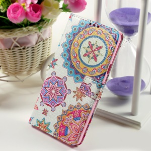 Callfree Wallet Stand Faux Leather Shell for Samsung Galaxy Note 5 - Mandala Flowers