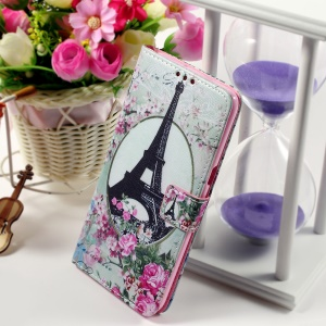 Callfree Leather Phone Shell for Samsung Galaxy S6 edge+ G928 - Eiffel Tower and Roses