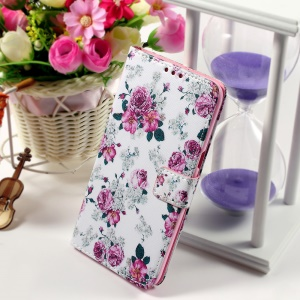 Callfree Leather Phone Shell for Samsung Galaxy S6 edge+ G928 - Blooming Roses