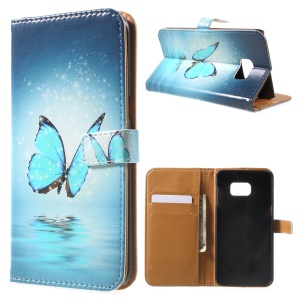 Magnetic Wallet Leather Protective Case for Samsung Galaxy Note 5 Edge - Blue Butterfly