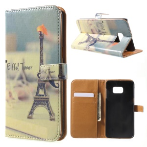 Wallet Leather Phone Stand Cover for Samsung Galaxy Note 5 Edge - Eiffel Tower