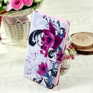 Callfree Leather Case with Wallet Slots for Samsung Galaxy Xcover 3 SM-G388F - Kapok Flowers