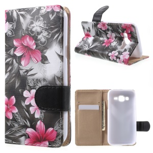 Beautiful Flowers Leather Wallet Case for Samsung Galaxy J5 SM-J500F - Black
