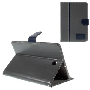 Crazy Horse Leather Stand Cover for Samsung Galaxy Tab S2 8.0 T710 T715 with Card Slots - Grey