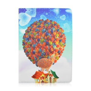 Rotary Stand Leather Cover Case for Samsung Galaxy Tab A 9.7 T550 - Colorful Hot-air Balloon and House