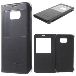 View Window Leather Case for Samsung Galaxy S6 edge+ G928 - Black