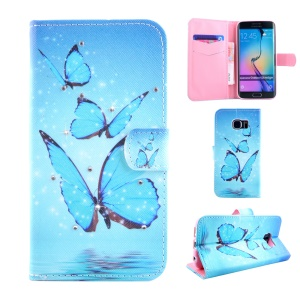 Flip Patterned Rhinestone Leather Case for Samsung Galaxy S6 Edge G925 - Blue Butterfly