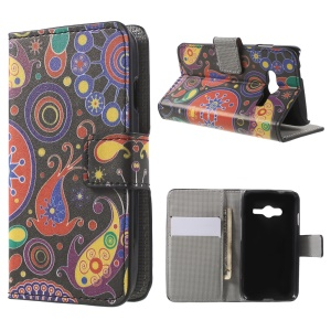 For Samsung Galaxy Trend 2 Lite G318H / V Plus SM-G318 Wallet Leather Protective Case - Paisley Flowers