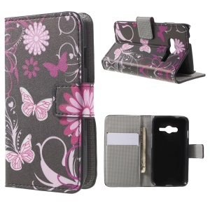 For Samsung Galaxy Trend 2 Lite G318H / V Plus SM-G318 Wallet Leather Shell Case - Butterflies and Flowers