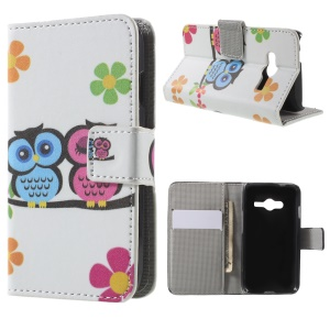 Wallet Leather Cover Case for Samsung Galaxy Trend 2 Lite G318H / V Plus SM-G318 - Owl Lovers