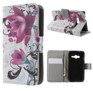 Magnetic Leather Stand Case for Samsung Galaxy Trend 2 Lite G318H / V Plus SM-G318 - Kapok Flowers
