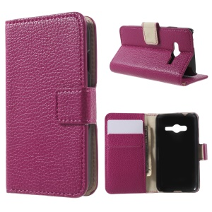 Litchi Skin Wallet Leather Stand Cover for Samsung Galaxy Trend 2 Lite G318H / V Plus G318 - Rose