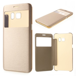 View Window Leather Cover for Samsung Galaxy S6 edge Plus G928 - Gold