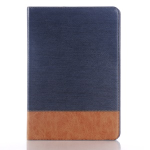 Linen Skin Smart Leather Wallet Case for Samsung Galaxy Tab S2 9.7 T810 T815 - Dark Blue