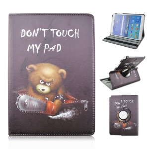 Rotary Stand Leather Case for Samsung Galaxy Tab A 9.7 T550 T555 - Do Not Touch My Pad and Chainsaw Bear