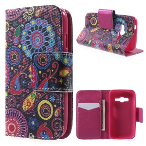 PU Leather Wallet Case for Samsung Galaxy Trend 2 Lite G318H / Galaxy V Plus SM-G318 - Paisley Flower