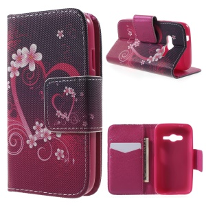 PU Leather Wallet Cover for Samsung Galaxy Trend 2 Lite G318H / Galaxy V Plus SM-G318 - Heart Flower