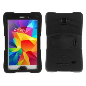 Heavy Duty PC + Silicone Shield Case with Kickstand for Samsung Galaxy Tab 4 7.0 T230 T231 T235 - Black