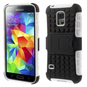 Anti-slip PC + TPU Shield Case w/ Kickstand for Samsung Galaxy S5 mini G800 - White