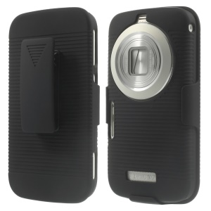 Horizontal Stripes Belt Clip Holster Hard Case with Stand for Samsung Galaxy K S5 zoom C115