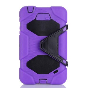 Heavy Duty Silicone & PC Combo Shell for Samsung Galaxy Tab 4 7.0 T230 w/ Stand - Purple