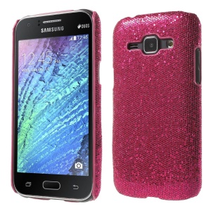 Glitter Sequins Leather Coated Hard Plastic Shell for Samsung Galaxy J1 / J1 4G - Rose