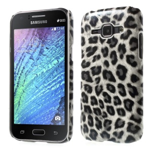Leopard Leather Coated Hard Plastic Case for Samsung Galaxy J1 / J1 4G - White