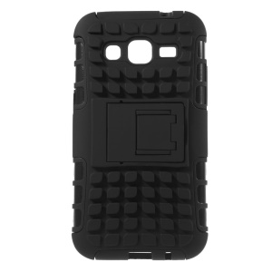 Anti-slip Grid PC and TPU Case for Samsung Galaxy Core Prime G360 with Kickstand - Black