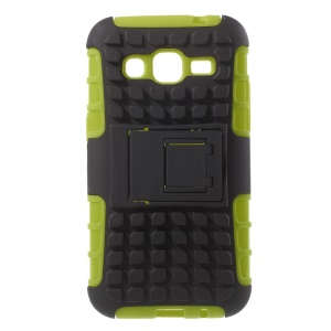 Anti-slip Grid PC and TPU Cover for Samsung Galaxy Core Prime G360 with Kickstand - Green