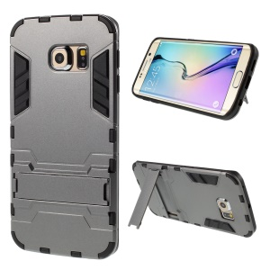 2 in 1 PC and TPU Kickstand Case for Samsung Galaxy S6 Edge G925 - Grey