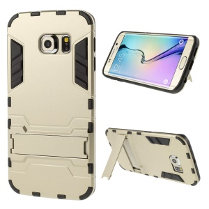 Detachable PC and TPU Kickstand Cover for Samsung Galaxy S6 Edge G925 - Champagne