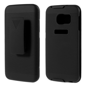 Rubberized Stripes Holster Hard Case for Samsung Galaxy S6 edge G925 with Belt Clip
