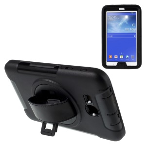 PC TPU Hybrid Case for Samsung Galaxy Tab 3 Lite 7.0 3G SM-T111 with Kickstand and Holding Strap - Black