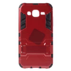 Cool PC and TPU Detachable Cover for Samsung Galaxy J7 SM-J700F with Kickstand - Red