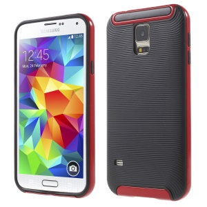 Red PC Frame + Geometric Pattern TPU Case for Samsung Galaxy S5 G900 / S5 Neo G903F