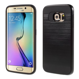 Brushed PC and TPU Hybrid Case for Samsung Galaxy S6 Edge G925 - Black