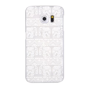 For Samsung Galaxy S6 edge G925 Patterned Translucent Hard Cover Case - Tribal Elephants