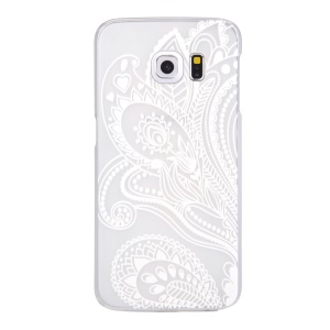For Samsung Galaxy S6 edge G925 Patterned Translucent Hard Plastic Case - Paisley Flowers