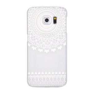 Patterned Translucent PC Back Cover for Samsung Galaxy S6 edge G925 - Concentric Circles Lace
