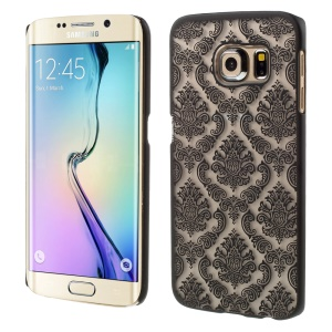 Flower Damask Pattern Hard Plastic Case for Samsung Galaxy S6 Edge G925 - Black