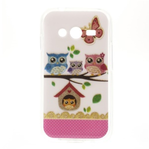 Four Owls & Butterfly Shimmering Powder Glossy TPU Shell Case for Samsung Galaxy Ace NXT SM-G313H
