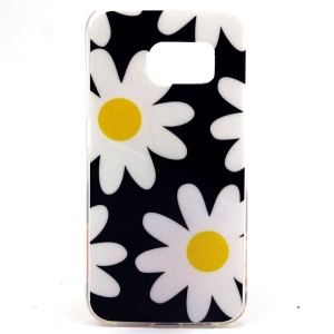 White Flowers IMD TPU Shell Case for Samsung Galaxy S6 SM-G925 Edge